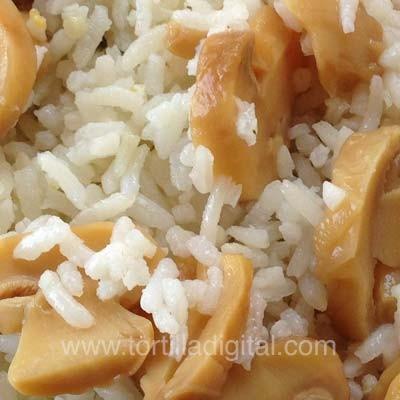Hongos con arroz